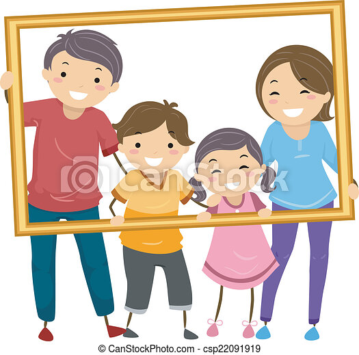 family frame illustration featuring a happy family