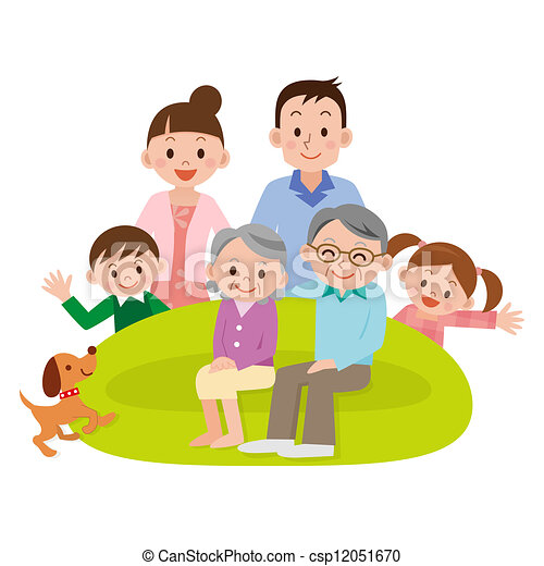 Family Gathered In The Living Room Stock Illustration