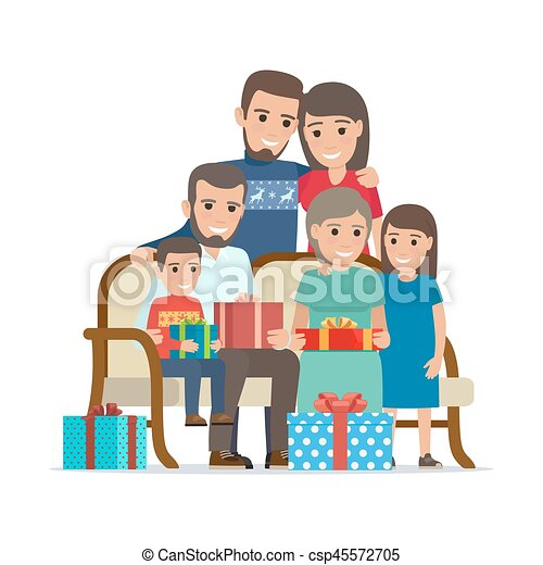 Family Gathered Together Holding Present Boxes - csp45572705