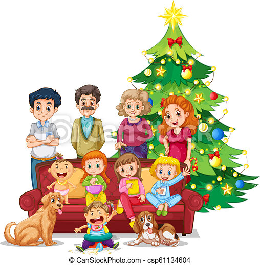 Christmas Illustrations.Family Gathering On Christmas