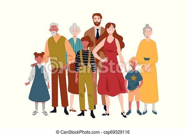 family., grandfather., grand, grand-mère, père, mère, portrait, enfants - csp69329116