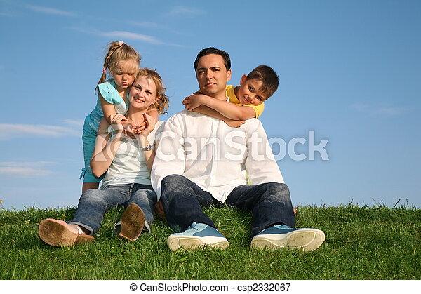 family grass sky - csp2332067