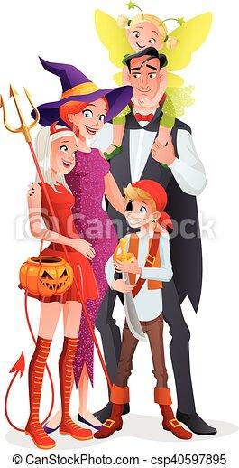 Family halloween dessin anim vecteur fairy diable - Dessin anime de la famille pirate ...
