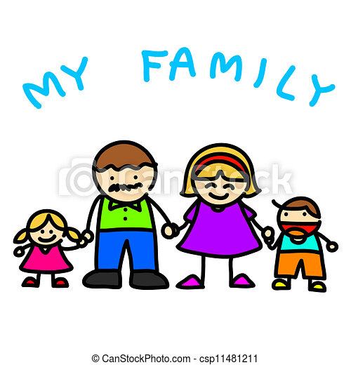 Family Hand Writing Cartoon Illustration Vector Clip Art Search Rh Canstockphoto Com Picture Black And White Portrait Clipart