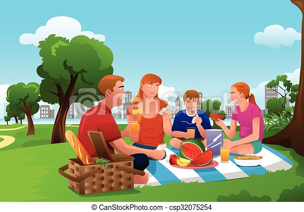 family having a picnic in the park a vector illustration of happy rh canstockphoto com family picnic clipart free family having a picnic clipart