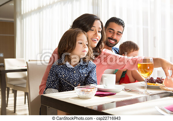 Family having breakfast - csp22716943