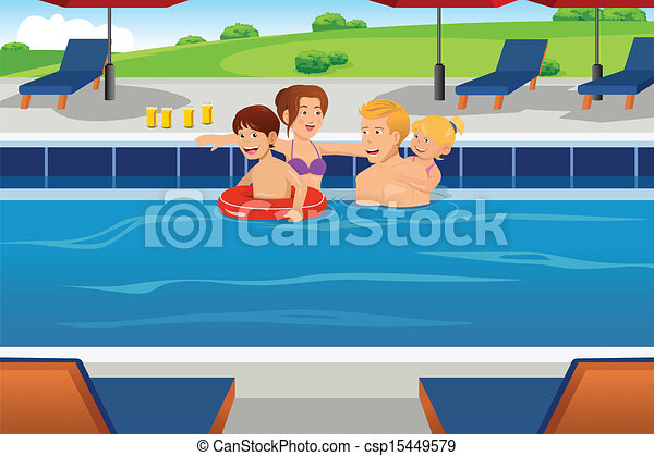 Family having fun in a swimming pool A vector illustration of a