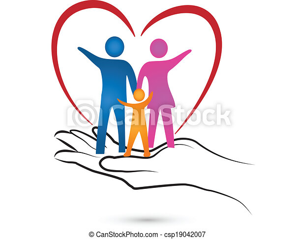 Family heart and hand logo  - csp19042007
