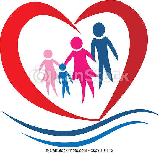 Family heart logo vector - csp9810112