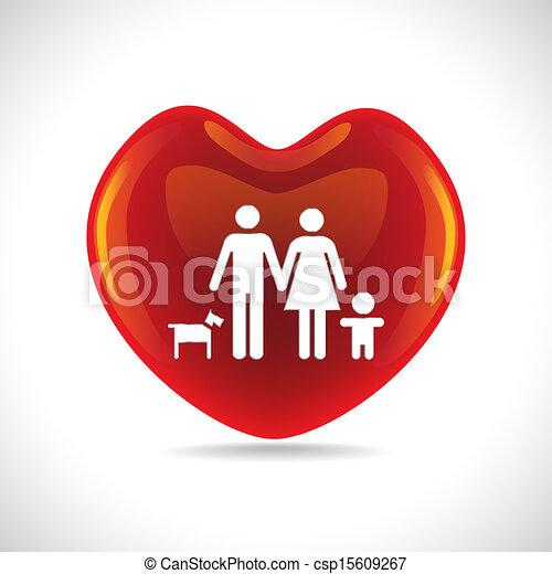 Family Heart A Basic Family In Big Heart Symbol Illustration