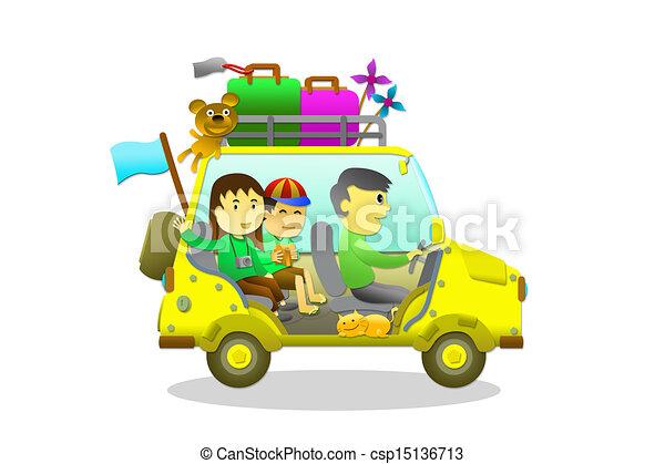 Family Holiday Tour Stock Illustration