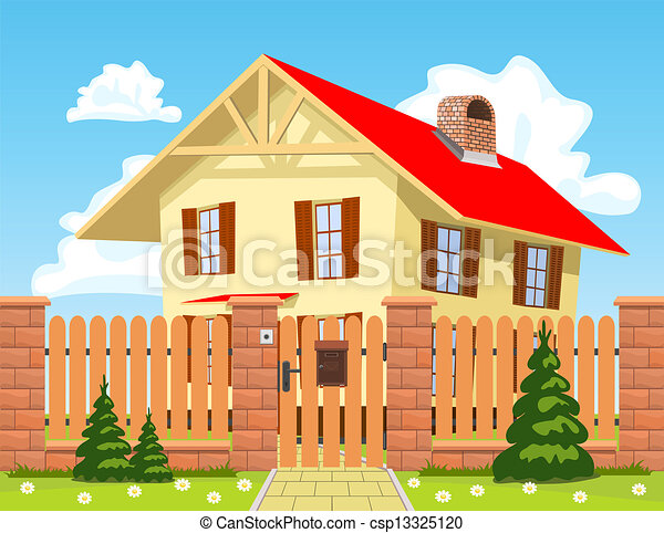 Family house behind the wooden fence with the gate. - csp13325120