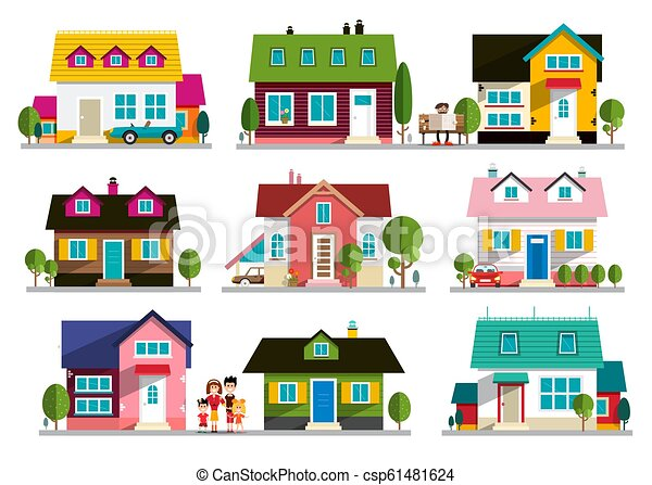 Family House Icon. Home Symbol. Buildings Set Isolated on White Background. - csp61481624