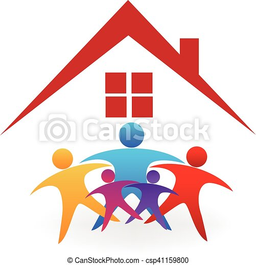 family house logo happy family with a new house celebrating vector rh canstockphoto com  new home clipart