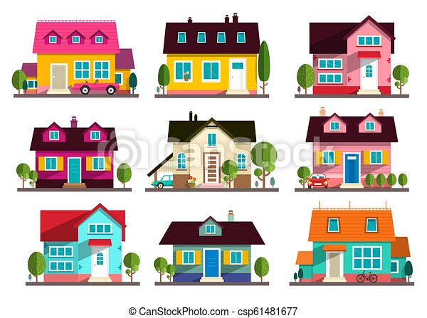 Family House. Vector Flat Design Buildings Icons Set Isolated on White Background. - csp61481677