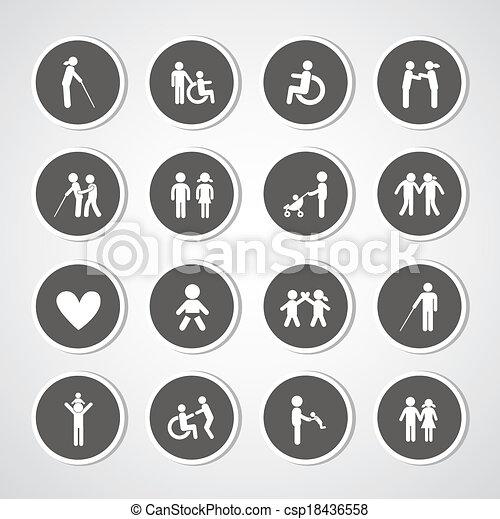 Family icon set - csp18436558