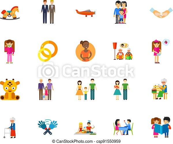 Family icon set - csp91550959