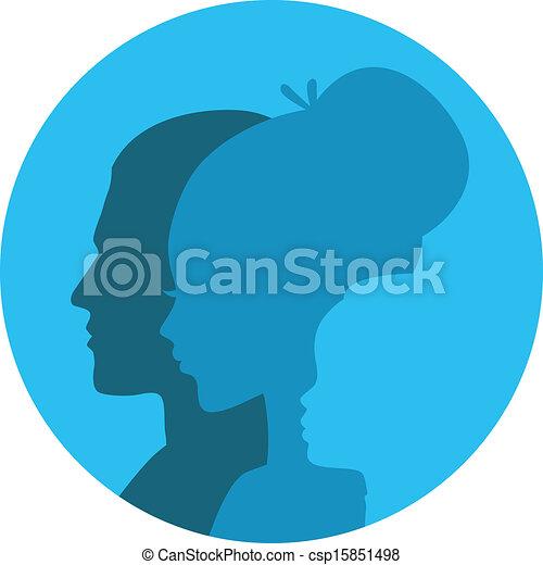 Family icons head - csp15851498