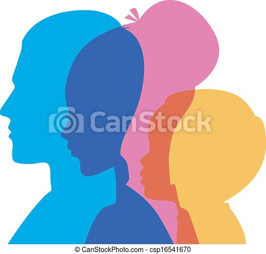 Family icons head - csp16541670