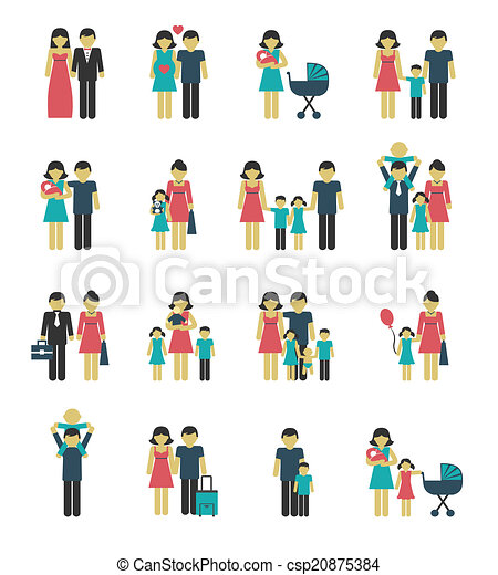 Family icons set - csp20875384