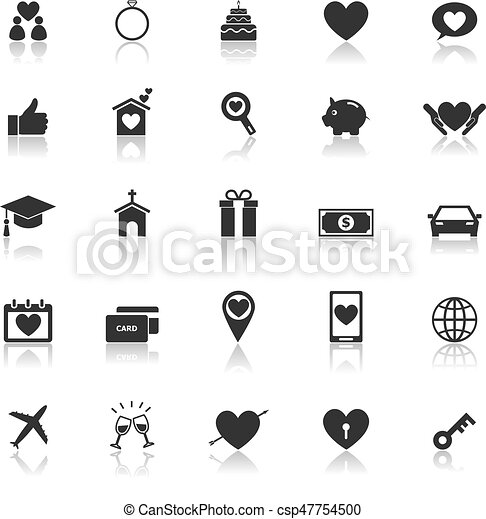 Family icons with reflect on white background - csp47754500