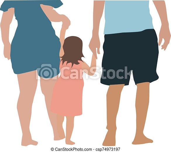 Family, illustration, vector on white background. - csp74973197