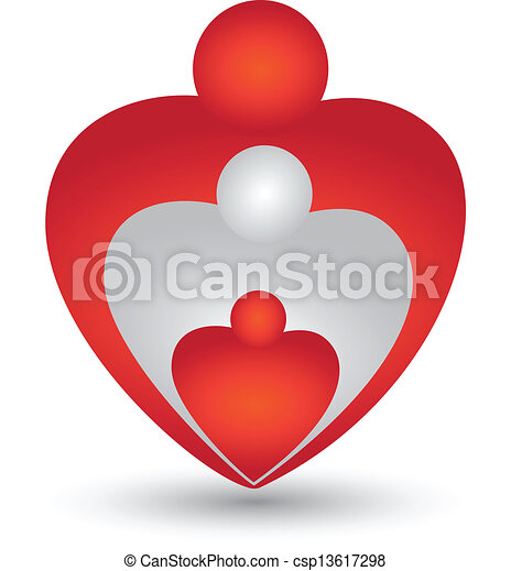 Family in a heart shape logo vector - csp13617298