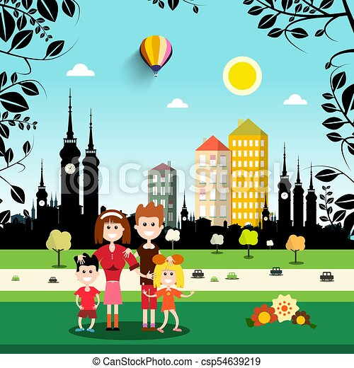 Family in City Park. Abstract Vector Town on Background. - csp54639219