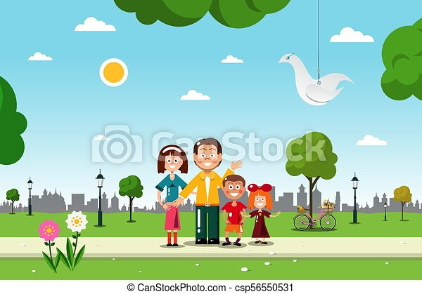 Family in City Park. Vetor Flat Design Illustration. - csp56550531