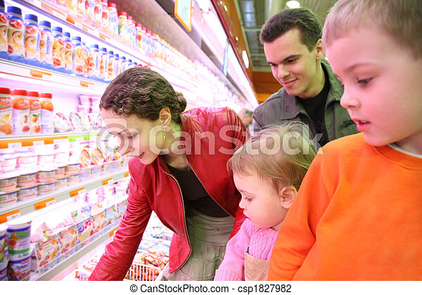 family in food shop - csp1827982