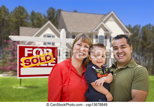Family in Front of Sold Real Estate Sign and House - csp13678849