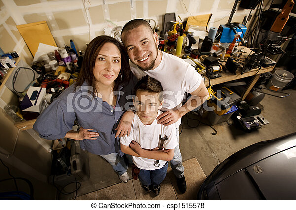 Family in garage do it yourself family in their garage pictures family in garage stock photo solutioingenieria Image collections