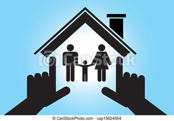 Family in house with baby boy - csp15624564