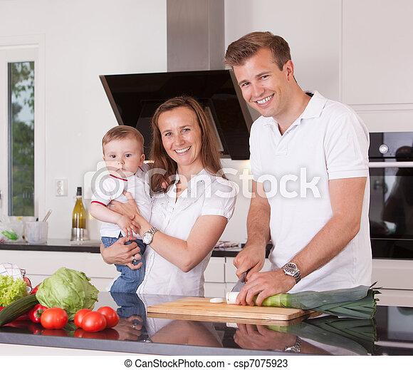 Family in Kitchen - csp7075923