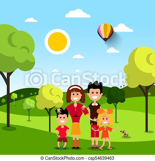 Family in Park. People on Field. Vector Flat Design Illustration. - csp54639463
