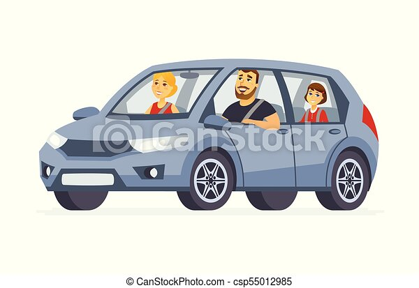 Family in the car - cartoon people character isolated illustration - csp55012985