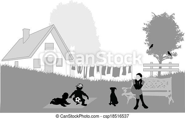 Family in the garden - csp18516537