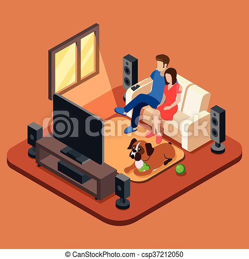 Family In The Living Room Watching Tv 3d Isometric People Concept Vector