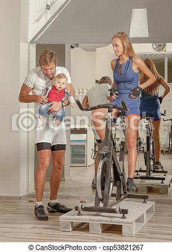 Family Jim baby Cycling - csp53821267