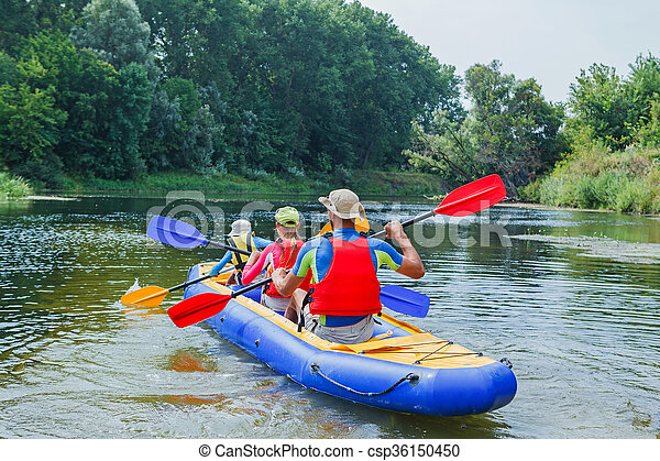 Family kayaking on the river - csp36150450