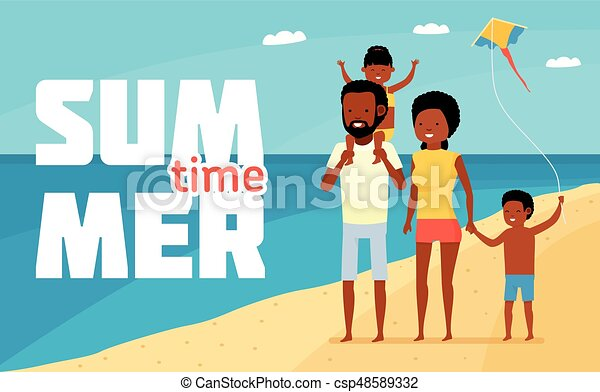 Family Leisure Summer Time Happy African Beach Holiday Having Fun At
