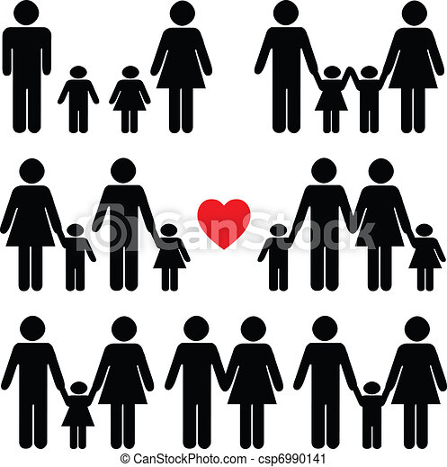 Family life icon set in black  - csp6990141