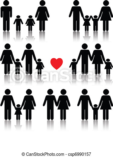 Family life icon set in black with a red heart - csp6990157