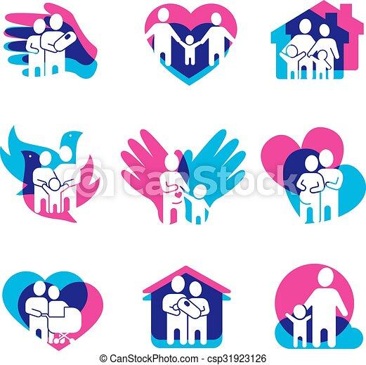 family logo set family logo set with home love and peace symbols
