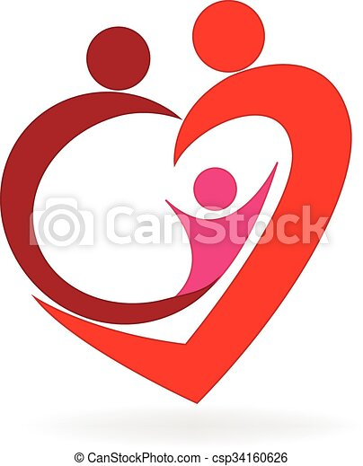 Family Love Heart Logo Family Love Heart Symbol Logo Vector Image