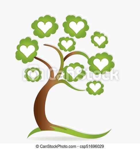 Family love hearts tree logo - csp51696029