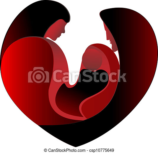 Family love in a big heart - csp10775649