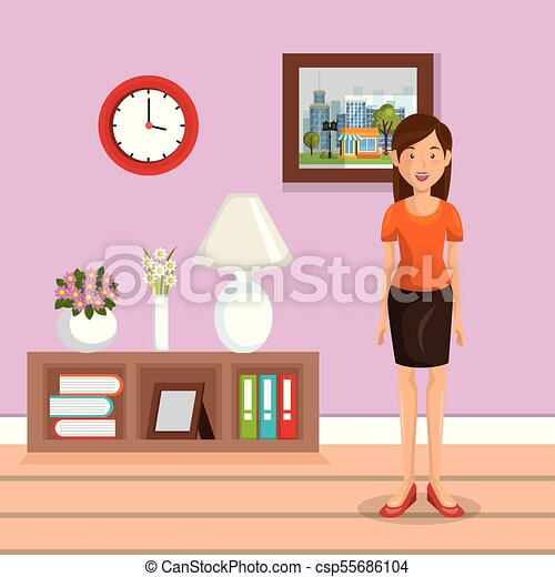Family member in the living room vector illustration design vector ...