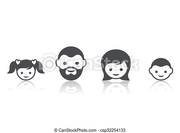 Family members face icons - csp32254133