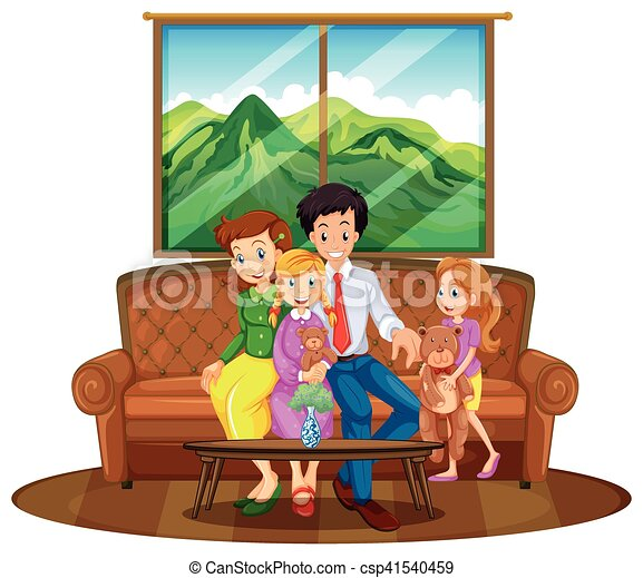 Family Members Sitting In Living Room Vector